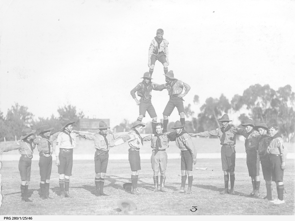 Boy Scouts forming a human pyramid • Photograph • State